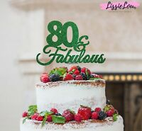 LissieLou 80 & Fabulous Cake Topper 80th Birthday Glitter Card Made in the UK