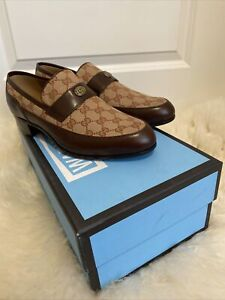 Gucci Quentin Original GG Leather Brown Logo Loafer Flat 10.5