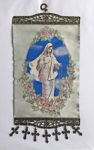 Icon of Lady of Grace, Virgin Mary, Madonna, Big Tapestry Wall Hanging w Crosses
