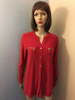SUSAN GRAVER Sz S Red Liquid Knit Button Down SHIRT TOP LS Gold Zipper Pockets