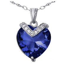 Created Sapphire GEMSTONE Pendant Necklace 10.84 Ctw Heart Cut in 925 Sterling Silver With Chain