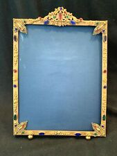 "EXCEPTIONAL ANTIQUE JEWELED PICTURE FRAME IN ORIGINAL CONDITION 8 1/4 "" X 12 """