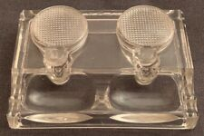 Antique vintage Art Deco thick glass with two inkwells with glass covers...