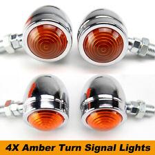 4x Motorcycle Chrome Bullet Turn Signal Lights Indicators Amber Lamps Bulbs 12V