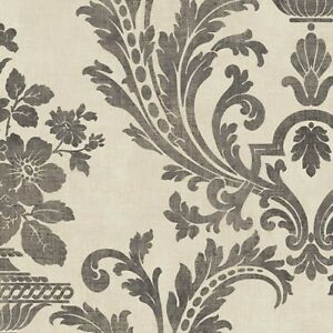 Distressed Damask Wallpaper SD36152 Victorian charcoal gray beige prepasted