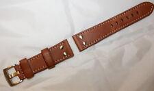 Echtleder Fliegeruhren Armband Vintage-Look Edelstahl-Nieten braun Größe 20 mm