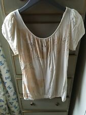 Oasis Cream Cross Back Beaded Top, Size 10, WORN ONCE