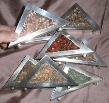 8 porte-serviettes vintage en métal argenté & pierres colorées