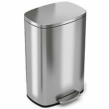 iTouchless SoftStep 13.2 Gallon Step Trash Can - Stainless Steel