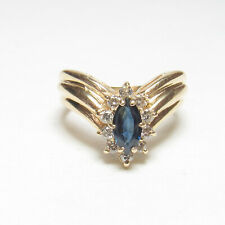 Estate 14K Yellow Gold 0.70 Ct Natural Navy Blue Sapphire And Diamond Halo Ring