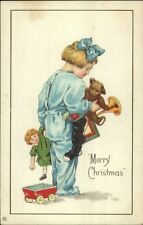 Christmas - Little Girl in Pajamas w/ New Toys c1915 Postcard