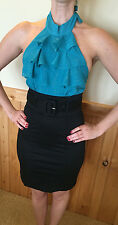 RAMPAGE Women's Teal and Black Halter Wiggle Pencil Dress Size 3 NEW