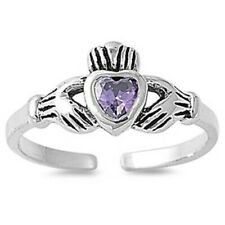 Amethyst Cz Face Height 7 mm Claddagh Toe Ring Genuine Sterling Silver 925