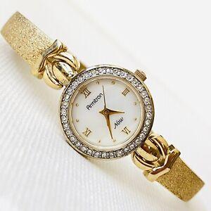 Vintage Armitron Swarovski Crystals MOP Dial Women's Gold Tone Bracelet Watch