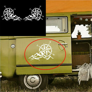2Pcs Vinyl Sticker Compass Navigate Mountain White 62x45cm Fit For Car Body Side