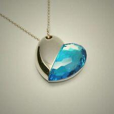 16GB pen drive crystal necklace blue heart USB Flash drive 2.0 U disk pen stick
