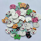 100Pcs 2 Holes Mixed Wooden Cute Cat Pattern Buttons Sewing DIY Craft Scrapbook