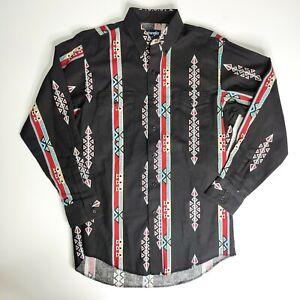 Vintage Wrangler Cowboy Cut Western Aztec Shirt 15 1/2 X - 33 Long Tails Regular
