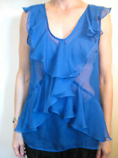 Hi There from Karen Walker Size 10 Electric Blue Sheer Sleeveless Blouse Top