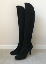 YSL Over Knee Boots 37 7 Black Suede Leather Made In Italy