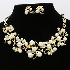 Bridal Wedding Party Ball Jewelry Set Crystal Rhinestone Pearl Necklace Earrings