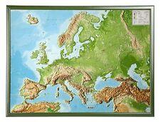 Vrai 3D Carte Du Relief Europe avec Cadre en Bois Anglais 77x57cm #100587R