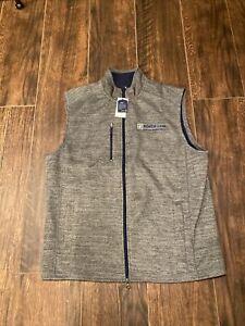 NWT Mens JOHNNIE O Gray Full Zip Fleece Vest Large