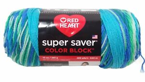 Red Heart Super Saver Color Block Jumbo Yarn Liquid Teal 10oz 482 Yds Brand New