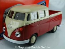 VOLKSWAGEN T1 Double CAB Van Pick up Model 1/36 Scale Red/white Welly K867q #