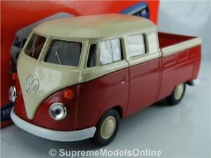 VOLKSWAGEN T1 DOUBLE CAB VAN PICK UP MODEL 1/36 SCALE RED/WHITE WELLY K867Q~#~