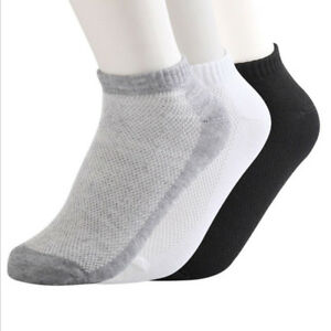 Summer Ankle Socks 1 Pairs Low Cut Crew Sport Breathable Cotton Blend Sock White