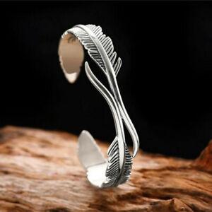 Vintage Feather Mermaid  Silver Bangle Bracelet Women Charm Jewellery Adjustable
