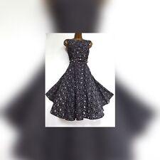 Rare Monsoon Kelly Black Cotton Rockabilly Dress size 16  Posting Daily Holiday