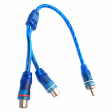 RCA y audio splitter cable male 2 female stereo mono 7 inch blue output input