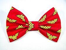 NEW FABRIC HAIR BOW W/ALLIGATOR CLIP* Wonder Woman * Handmade USA *FREE SHIPPING