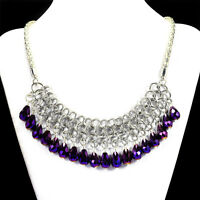 Mystic Purple Crystal Statement Necklace Handcrafted Bib Jewellery UK Gift Idea