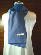 100% woven silk men's cravat/scarf  Navy blue/silver pin head dots  NEW