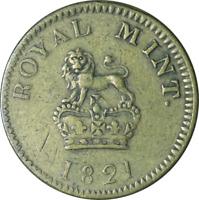UK George IV Brass Sovereign Weight 1821 VF