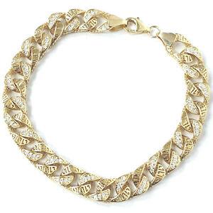 """14k Gold Bracelet Men's Size Semi Solid Greek Key Style Cubic Zirconia 8.25"""""""