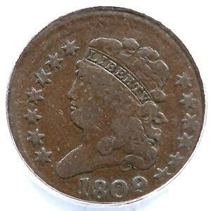 1809 ANACS F 12 Off Center Classic Head Half Cent Coin 1/2c