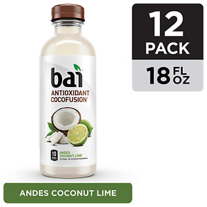 Bai Coconut Flavored Water, Andes Coconut Lime, Antioxidant Infused Drinks, 18oz