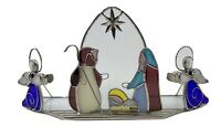 Stained Glass Nativity Candle holder By Ganz Mary Joseph Baby Jesus 2 Angels EUC