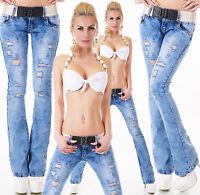 Women's Low Cut bootcut Jeans Destroyed Look Pants Belt Inc Size 6,8,10,12,14
