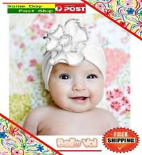 White Cotton Flower Headband Hair Accessories Girls Baby Infant Toddler Children