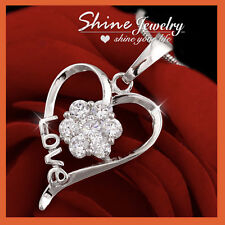 18K WHITE GOLD GF CRYSTAL FLOWER LOVE HEART NECKLACE PENDANT MUM MOTHER DAY GIFT