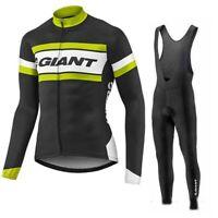 YQ517 Mens New Sport Cycling Winter Thermal Fleece long sleeve jersey Bib Pants