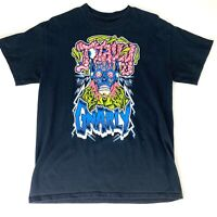 Totally Gnarly Mens Medium Black T-Shirt Skull Brains Skater Retro 80s Metal Tee