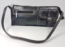 Mango black leather small handbag 23cm x 11cm