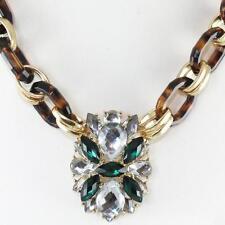 Tortoise Emerald Green Clear Crystal Necklace Pendant Vintage Gem Acrylic