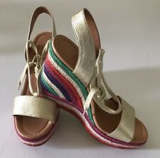 $190 Kate Spade Daisy Too Metallic Gold Espadrille Wedge Sandals Sz 10 M NEW